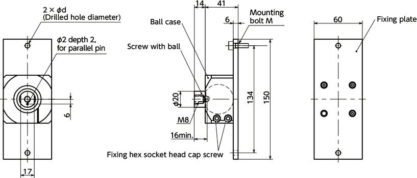 DFKF-AFBall Joint (Female Screw 1-Hole) - Bolt Mounting寸法図