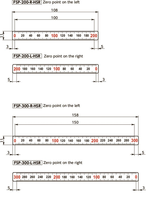 FSP-HSRScale Plates (Horizontal Type) - 1/2 Reduced Scale寸法図
