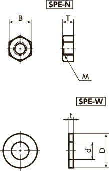 SPE-NPlastic Screw - Hex Nuts / Washers - PEEK寸法図