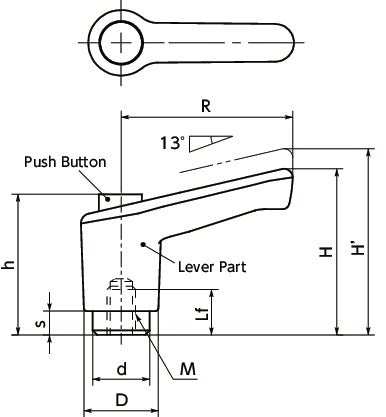LECF-CClamp Lever - Miniature Type, Female Screw - with Push Button寸法図