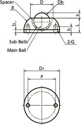 BRURS-NBall Rollers - Round Type寸法図
