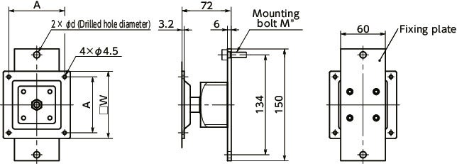 DFT-AFDisplay Mounting Systems - 360° Rotation Type - Spring Retention寸法図
