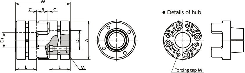 MJB-BLFlexible Couplings - Jaw Type (Bushing)寸法図