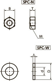 SPC-NPlastic Screw - Hex Nuts / Washers - PC寸法図