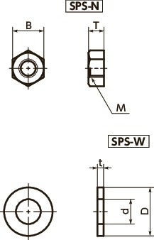 SPS-WPlastic Screw - Hex Nuts / Washers - PPS寸法図