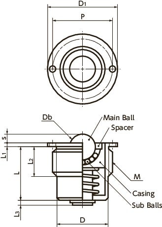 BRPMS-SBall Roller with Spring Plunger Function - Flange Type寸法図