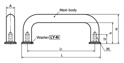 UNF-SH-WU-shaped Pull - with Washer寸法図