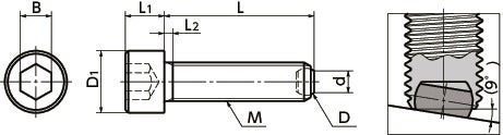 SCBS-FBClamping Bolt - Flat Ball - with Reversal Prevention Mechanism寸法図