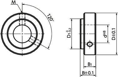 NSC-CBSet Collar - For Securing Bearing - Set Screw Type寸法図