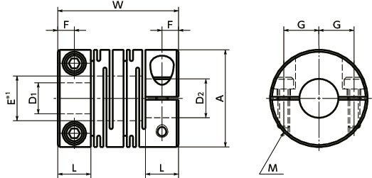 MSTS-CFlexible Couplings - Slit Type - Clamping Type寸法図