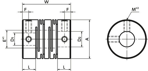 MSTSFlexible Couplings - Slit Type - Set Screw Type寸法図