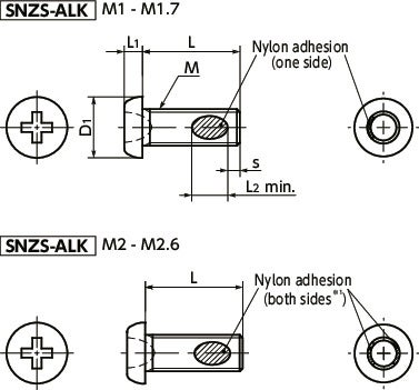 SNZS-ALKPan Head Machine Screws for Precision Instruments (Miniature Screws with Nylon Patch)寸法図