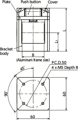 CUABQuick Positioning Brackets - For Aluminum Frames寸法図