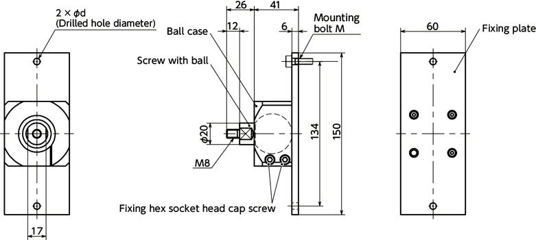 DFKM-AFBall Joint (Male Screw) - Bolt Mounting寸法図