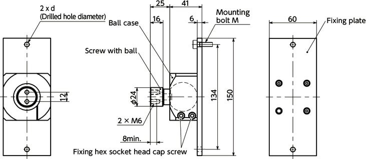DFKWF-AFBall Joint (Female Screw 2-Hole) - Bolt Mounting寸法図
