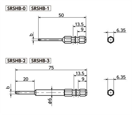SRSHBSpecial Bits for Tamper Resistant Screws寸法図